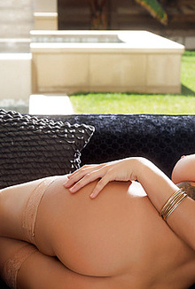 Sexy Keisha Grey stripping very slowly by the pool