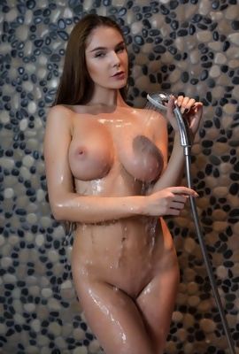 Loraine hot babe with adorable body takes shower