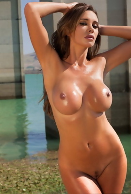 Kristin hot busty babe outdoor posing naked and oi