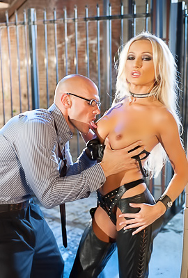 Diana Doll Blondes In Black Leather Fucks Hard