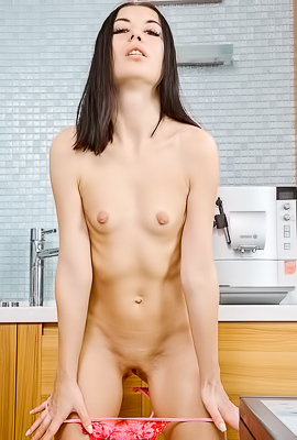 Hottie Enjoys A Solo Dessert
