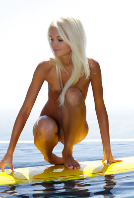 Francesca sweet blonde babe on Surf Naked