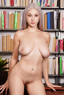 Big Boobed Skylar Vox Showing Tits In Library